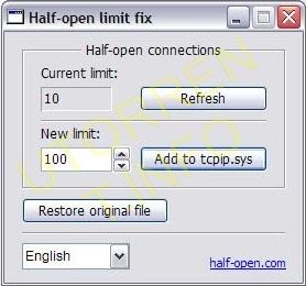 интерфейс программы HalfOpenLimitFix